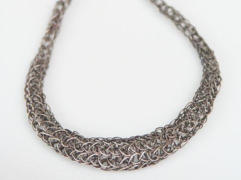 Graduated,Woven,Necklace,Jewelry,Metalwork,sterling_silver,graduated,beatriz_fortes,men,contemporary_jewelry,viking_knit,oxidized_silver,black_grey_silver,modern_silver_chain,tapered_silver_chain,handwoven_silver,silver_roman_chain,aspiringmetalsteam,sterling silver