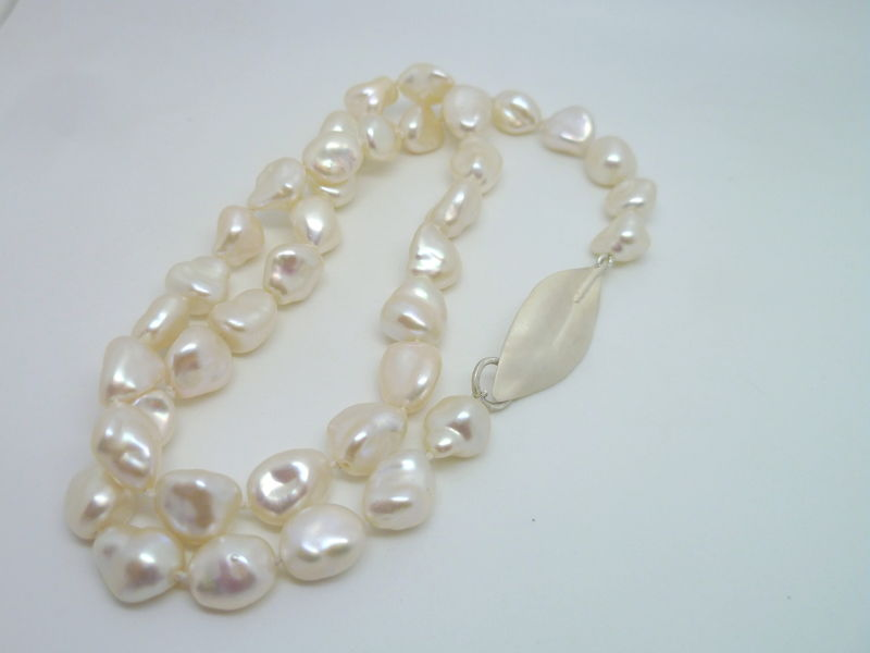 White Keshi Pearls with Sterling Leaf Clasp - product images  of