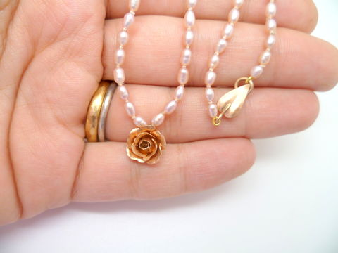 Miniature Gold Rose on Pearl Necklace - product images  of