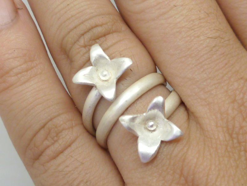Double Kalanchoe Ring in Sterling Silver - product images  of