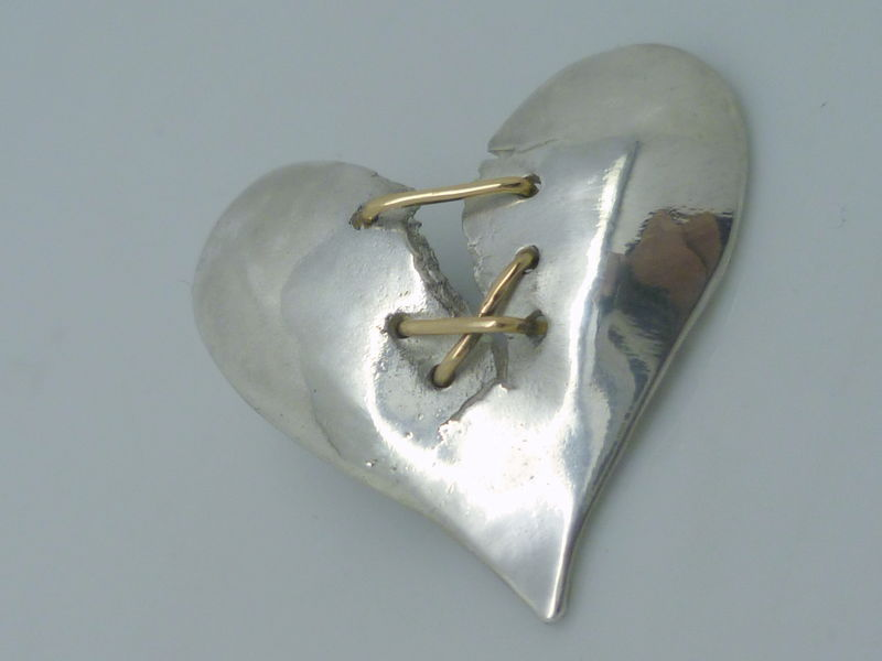 Bound Together - Broken Heart in Gold and Sterling Silver - product images  of