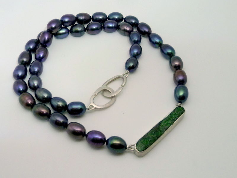 Green Druzy and Peacock Pearls Necklace - product images  of