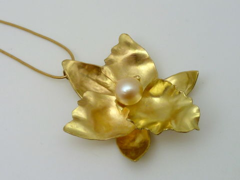 Cymbidium Orchid Pendant in 18k Gold - product images  of