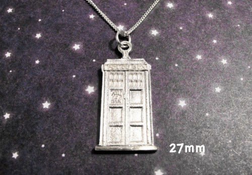 Sterling Silver Police Box Necklace inspired by Doctor Who and the TARDIS - product images  of