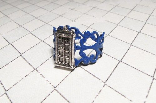Police Box Blue Filigree Ring - product images  of