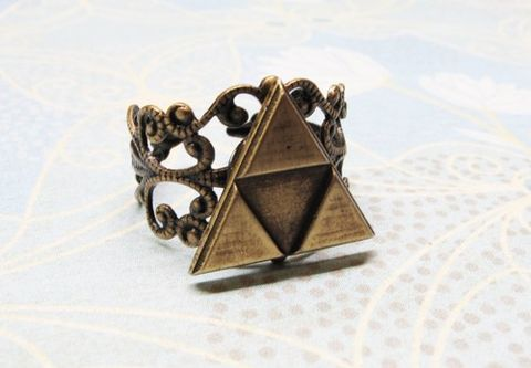 Triangles,Ring,,Deluxe,Bronze,,inspired,by,Legend,of,Zelda,Triforce,Triforce ring, adjustable, charm, jewelry, zelda, golden, legend of zelda, tri force, triangle, geek chic, gaming, video games, deluxe, gold, triforce, hyrule, hyrulian, shield, bronze, geek, gamer, filigree, filagree, filligree