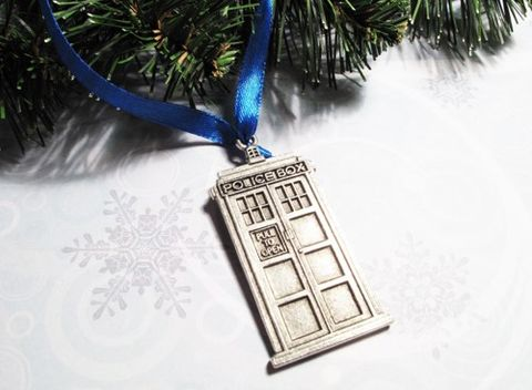 Police,Box,Christmas,Ornament,,simple,grey,silver,or,blue,ribbon,inspired,by,Doctor,Who,and,the,TARDIS,police box christmas ornament, police box, tardis, ornament, xmas, decoration, doctor who, dr who, whovian, science fiction, sci fi, time travel, mad man in a blue box, matt smith, david tennant, gray, silver, black and white, retro doctor who, grey, simp