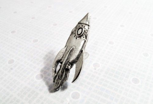 Rocketship Lapel Pin / Tie Tack, space travel, spaceship, rocket, retro - product images  of