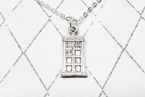 Mini,Police,Box,Necklace,,inspired,by,Doctor,Who,and,the,TARDIS,tardis necklace, tardis, police box, necklace, charm, silver, chain, geek, doctor who, dr who, t.a.r.d.i.s., mini, small, phone box, blue box, mad man, matt smith, david tennant, british, bad wolf, call box, police public call box
