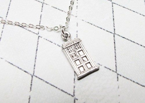 Mini Police Box Necklace, inspired by Doctor Who and the TARDIS - product images  of
