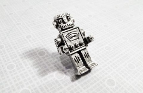 Robot,Lapel,Pin,,Tie,Tac,Brooch,Retro,Geekery,Rockem,Sockem,robot lapel pin, tie tack, tie tac, geek wedding, retro, kitsch, rockem sockem, button, brooch, small, silver, pewter, metal, science fiction, sci fi, geek, nerd