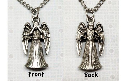 Weeping Stone Angel Pewter Necklace - product images  of