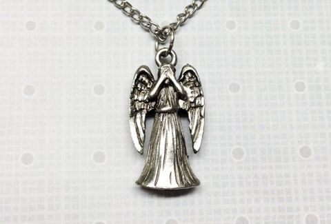 Weeping,Angel,Necklace,,3D,double-sided,inspired,by,Doctor,Who,weeping angel, necklace, chain, pendant, angel, doctor who, dr who, whovian, scary face, monster, pewter, metal, geek, matt smith, angel statue, crying angel, demon, don't blink, dont blink, blink and you're dead, silver, geek chic, nerdy, jewelry, jewell
