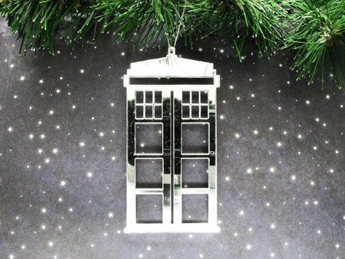 Mirrored Acrylic Police Box Ornament, inspired by Doctor Who and the TARDIS - product images  of