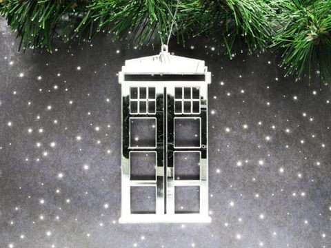 Mirrored,Acrylic,Police,Box,Ornament,,inspired,by,Doctor,Who,and,the,TARDIS,police box, tardis, christmas ornament, decoration, xmas, silver, chrome, tardis ornament, mirrored, mirror, doctor who, dr who, whovian, wall hanging, geek, nerdy, police public call box, phone box
