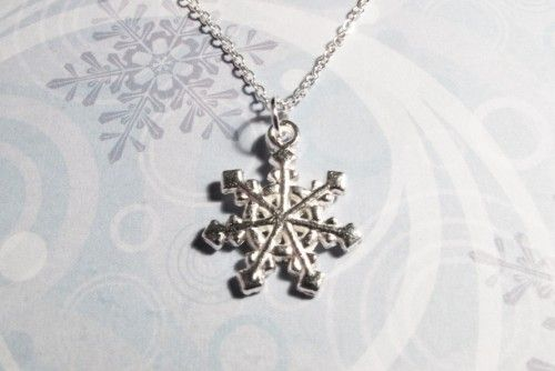 Snowflake Necklace, winter wonderland snow flake wedding christmas - product images  of