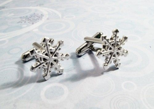 Snowflake Cuff Links, Cufflinks, snow flake winter silver wedding - product images  of