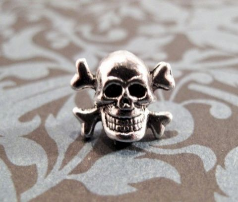 Little,Skull,Tie,Tack,,Pin,,and,Crossbones,Halloween,Goth,skull pin, tie tack, tie tac, lapel pin, charm, skeleton, halloween, goth, rock, wedding, horror, skull