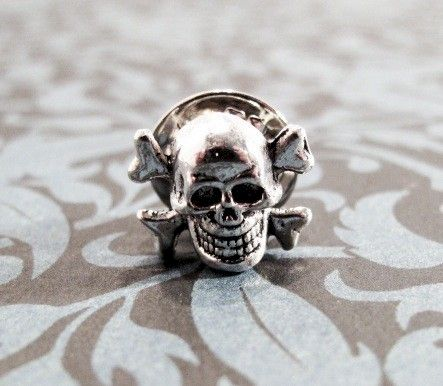 Little Skull Tie Tack, Pin, Skull and Crossbones Halloween Goth - product images  of