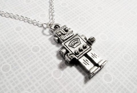 Robot,Necklace,,Retro,Rockem,Sockem,Geeky,Fun,Novelty,robot necklace, jewelry, charm, pendant, geeky, geek chic, sci fi, science fiction, retro, rockem sockem, cscharms, c's charms, cs charms, etsy, silver, pewter