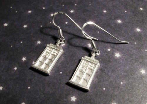 Sterling Silver Mini Police Box Earrings inspired by Doctor Who - product images  of