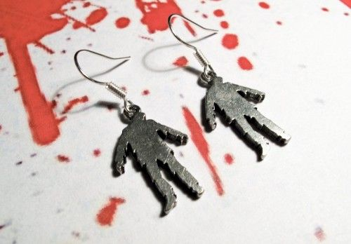 Zombie Earrings, Undead Horror Halloween Walking Dead Silhouette - product images  of