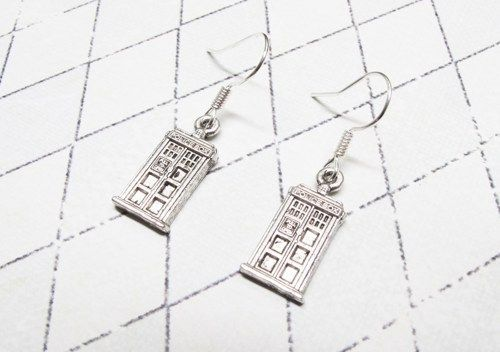Mini Police Box Earrings, dangle, inspired by Doctor Who and the TARDIS - product images  of