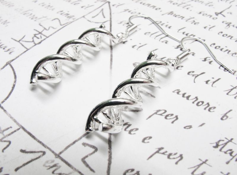 DNA Earrings, double helix silver charm pendant science - product images  of