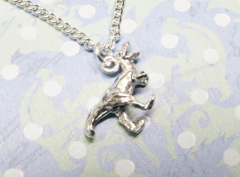 Dinosaur Necklace, raptor velociraptor t-rex silver charm pendant - product images  of