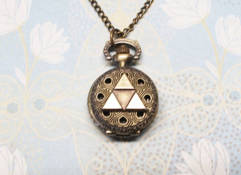 Bronze Triangle Watch Necklace, inspired by Legend of Zelda Triforce - product images  of