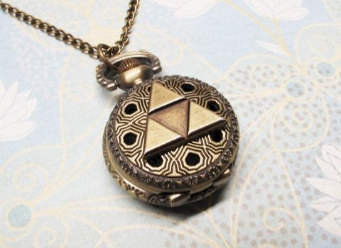 Bronze,Triangle,Watch,Necklace,,inspired,by,Legend,of,Zelda,Triforce,triangle, pocket watch, watch necklace, zelda, triforce, legend of zelda, hyrule, hylian, bronze, gold, hipster, gamer, geek, nerd, geek chic