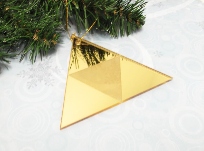 Golden Triangle Christmas Tree Ornament, inspired by Zelda Triforce - product images  of