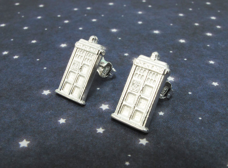 Sterling Silver Police Box Earrings, studs, inspired by doctor who tardis - product images  of