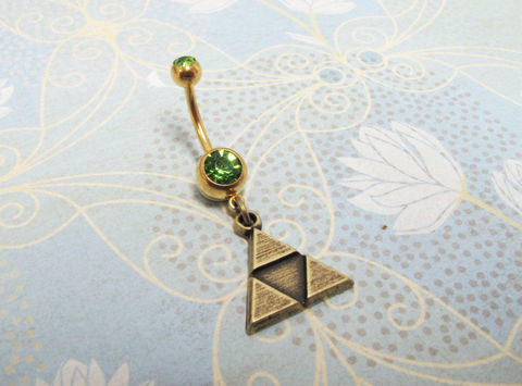 Triangles,Belly,Ring,,Navel,inspired,by,the,Triforce,from,Zelda,triangle shape belly ring, triforce navel ring, triforce belly ring, legend of zelda, body jewelry, zelda belly ring, zelda navel ring, geek, gamer, gaming