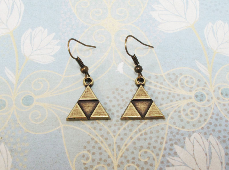 Bronze Triangle Earrings, dangle, inspired by Zelda Triforce - product images  of