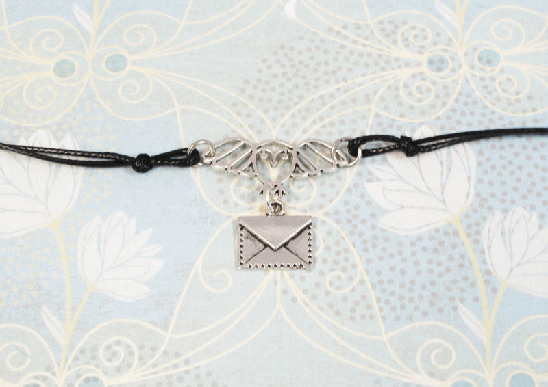 Owl with Mail Bracelet, inspired by harry potter silver adjustable - product images  of