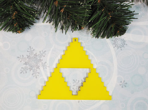 Yellow,Triangle,Ornament,,pixel,retro,gaming,8bit,inspired,by,zelda,triforce, ornament, christmas, xmas, decoration, legend of zelda, zelda, retro, gaming, gamer, geek, nerdy, yellow, pixel, pixelated, 8-bit, 8bit, 8 bit
