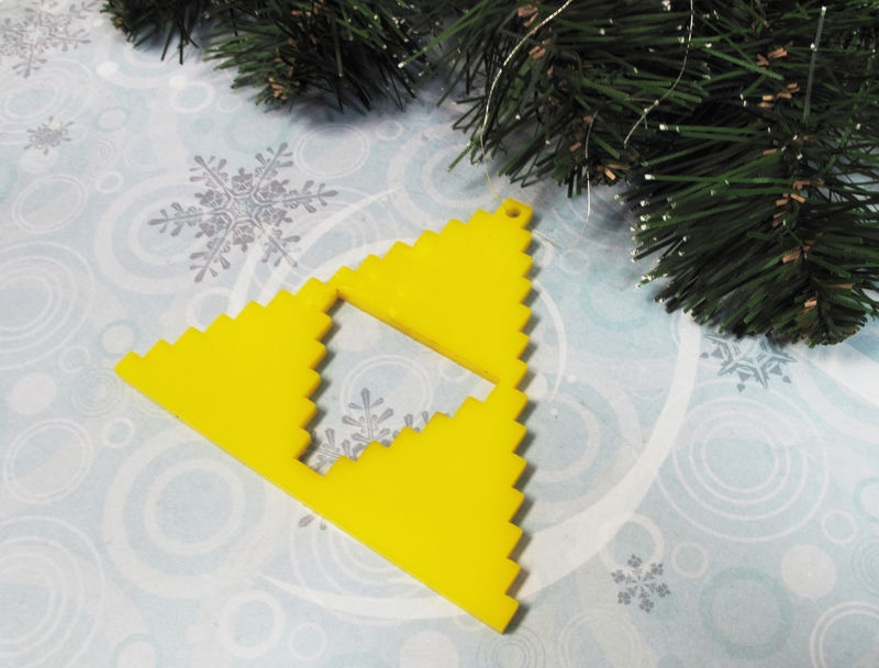 Yellow Triangle Ornament, pixel retro gaming 8bit inspired by zelda triforce - product images  of