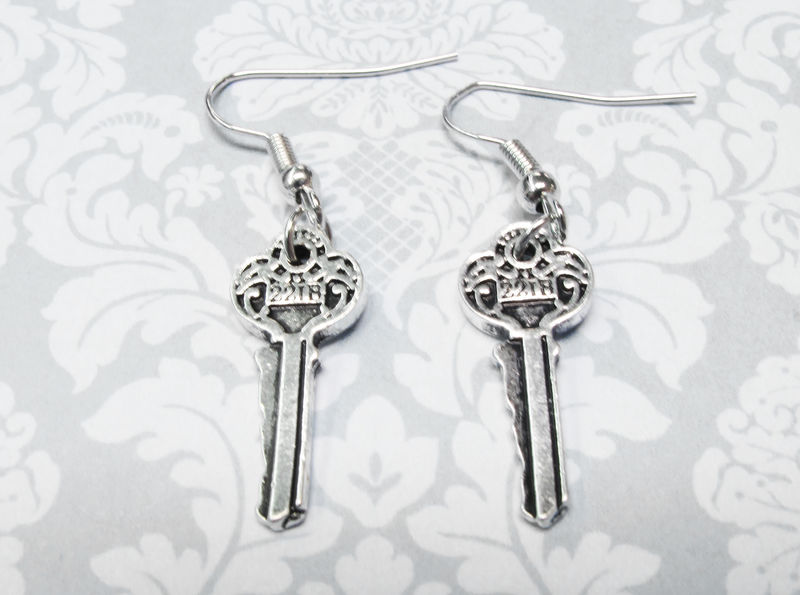 Mini Key Earrings, 221B inspired by Sherlock Holmes baker street - product images  of