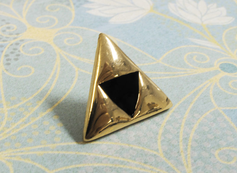 Golden Triangles Pin, tie tac inspired by legend of zelda triforce - product images  of