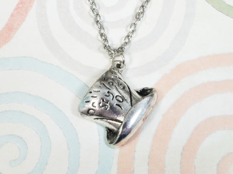 Top,Hat,Necklace,,inspired,by,the,mad,hatter,of,Alice,in,Wonderland,alice in wonderland, tophat, silver, necklace, pendant, charm, through the looking glass, mad hatter, top hat, mad hatter hat, geeky, bookish