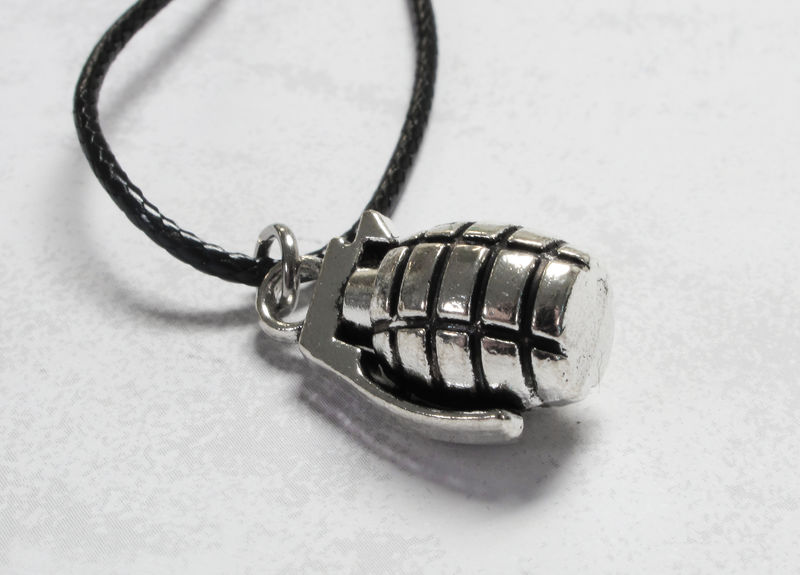 Grenade Necklace, 3D charm silver on cotton cord - product images  of