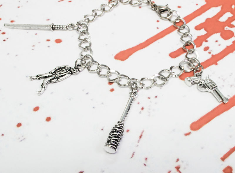 Walking Dead Inspired Charm Bracelet, simple 5 charms adjustable - product images  of