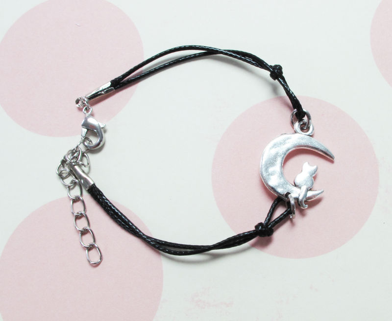 Cat on the Moon Bracelet, silver luna adjustable - product images  of