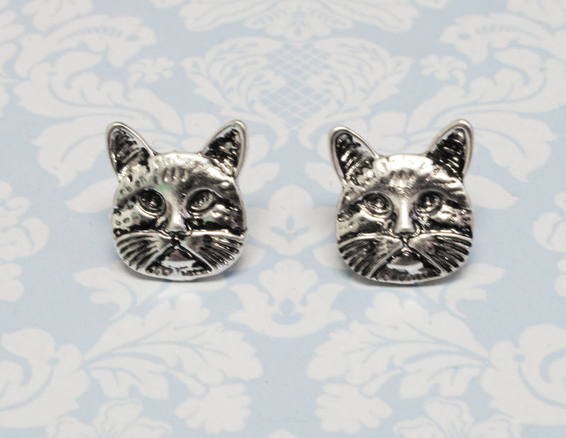 Cat Face Stud Earrings - product images  of