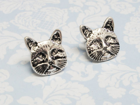 Cat,Face,Stud,Earrings,cat, silver, tomcat, face, kitty, cat lover, crazy cat lady, earrings, studs