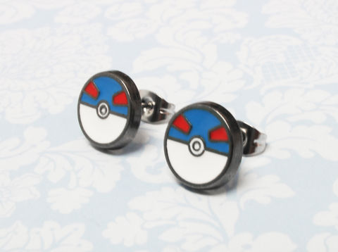 Pokémon,Great,Ball,Stud,Earrings,pokemon, great ball, greatball, studs, earrings, blue pokéball, pokémon go, geeky, nerdy, stainless steel