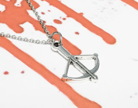 Crossbow,Necklace,crossbow, necklace, pendant, silver, bow and arrow, buffy, walking dead, daryl dixon, geeky, horror, halloween