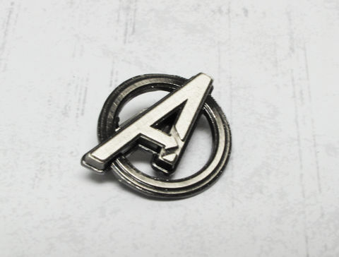Avengers,Logo,Pewter,Lapel,Pin, pin, lapel pin, tie pin, hat pin, pewter, pin collection, black, silver, pendant, marvel