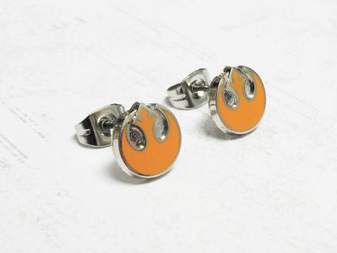 Star,Wars,Rebels,Studs,star wars, earrings, rebel alliance, rebels, studs, mens, stainless steel, geeky jewelry, nerdy, classic, orange, rogue one